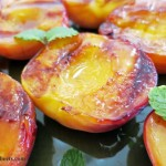 Grilled peaches honey maple syrup