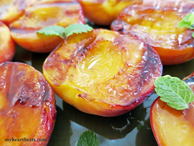 Grilled Peaches: Honey vs. Maple Syrup - My Heart Beets