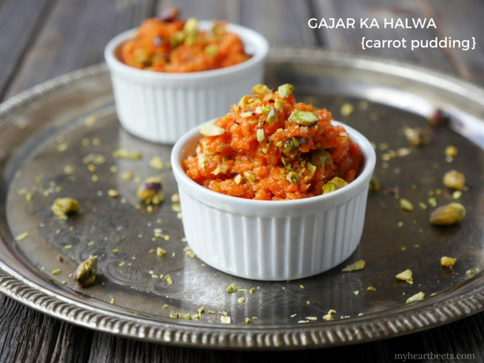 Gajar ka Halwa is a Carrot and Cardamom Pudding (Indian dessert made paleo) by Ashley of MyHeartBeets.com