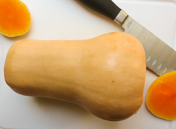 butternut squash with ends cut off