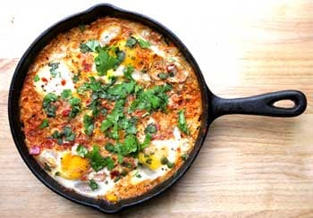 Eggs Poached in a Spiced Tomato Sauce (Shakshouka)