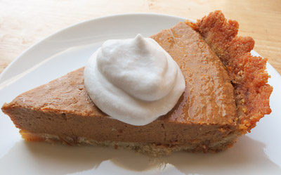 slice of apple butter pumpkin pie