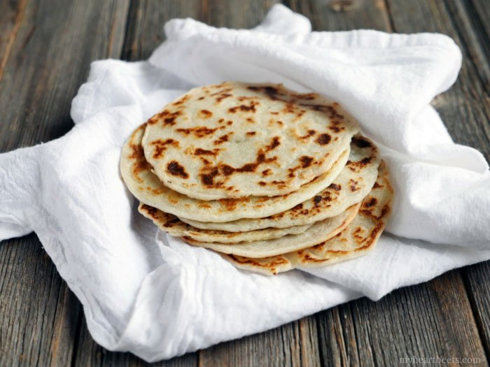 3-ingredient Paleo Naan by Ashley of MyHeartBeets.com - use this as a flatbread, tortilla, or crepe!!