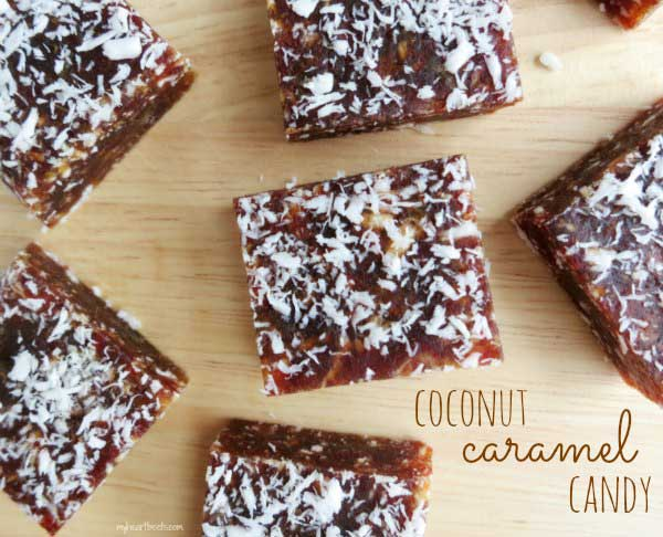 3 ingredient coconut caramel candy – no sugar added! www.myheartbeets.com