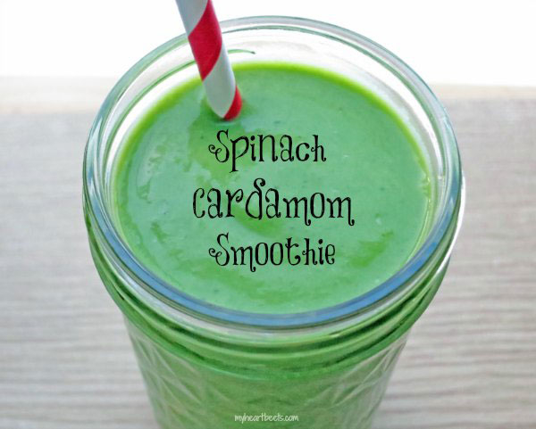 spinach cardamom smoothie by myheartbeets.com