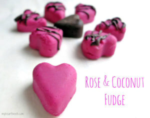 rose flavored coconut fudge www.myheartbeets.com