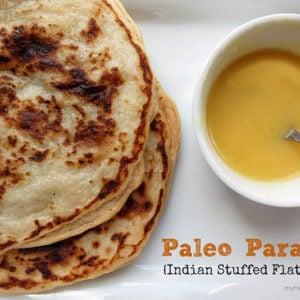 Indian stuffed flatbread - paleo friendly, gluten-free myheartbeets.com