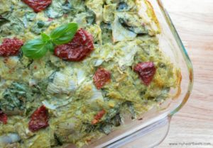 Italian Artichoke Bake with Basil Cream Sauce