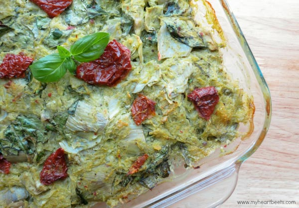 Italian Artichoke Bake with basil cream sauce - paleo friendly. www.myheartbeets.com