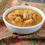This Indian Shrimp Curry is paleo, dairy-free and delicious!! Recipe by Ashley of MyHeartBeets.com