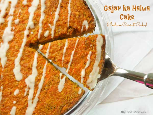Gajar ka Halwa Cake (Indian Carrot Cake) by myheartbeets.com