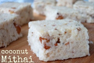 coconut mithai aka coconut fudge by myheartbeets.com