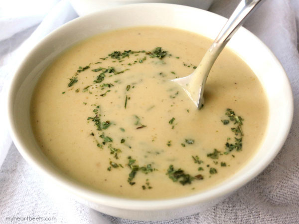 creamy curried cauliflower soup by myheartbeets.com