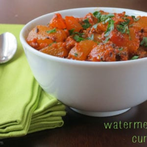 don't waste watermelon rind! make a watermelon rind curry on myheartbeets.com