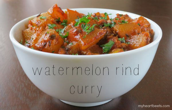 don't waste watermelon rinds! make a watermelon rind curry on myheartbeets.com