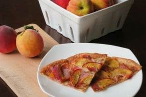 Prosciutto Peach Pizza by myheartbeets.com