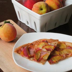 Prosciutto Peach Pizza by myheartbeets.com