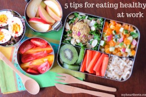 5 tips for eating healthy at work by myheartbeets.com plus mighty nest giveaway!