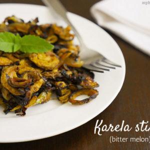 karela stir-fry (bitter melon) recipe by myheartbeets.com