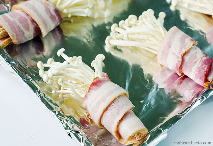 bacon bouquet (bacon wrapped enoki mushrooms) by myheartbeets.com
