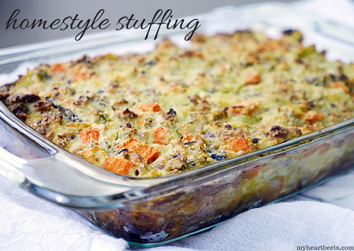 sausage homestyle stuffing by myheartbeets.com