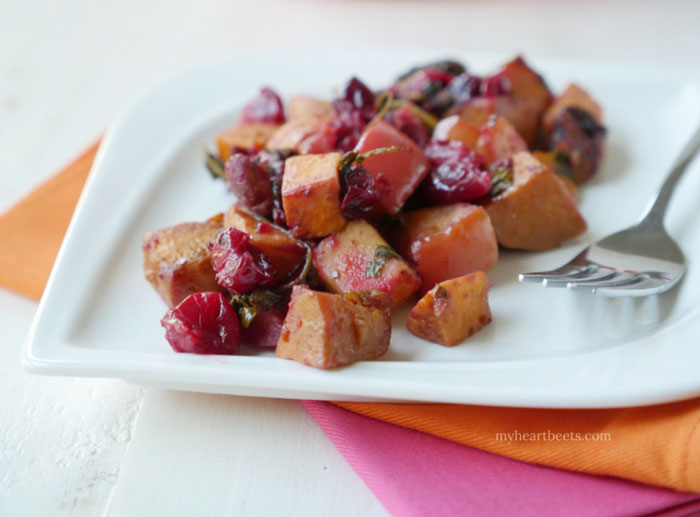 A sweet potato cranberry apple bake by myheartbeets.com
