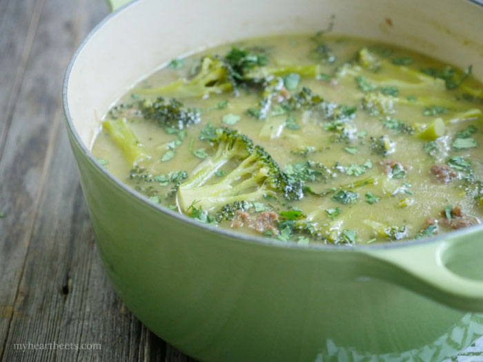 Thai beef and broccoli soup by myheartbeets.com