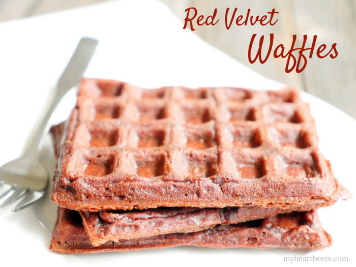 Grain-free Red Velvet Waffles by myheartbeets.com