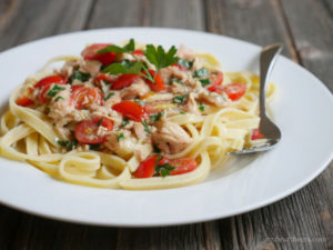 seafood fettuccine alfredo paleo pasta by myheartbeets.com