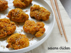 paleo sesame chicken by myheartbeets.com