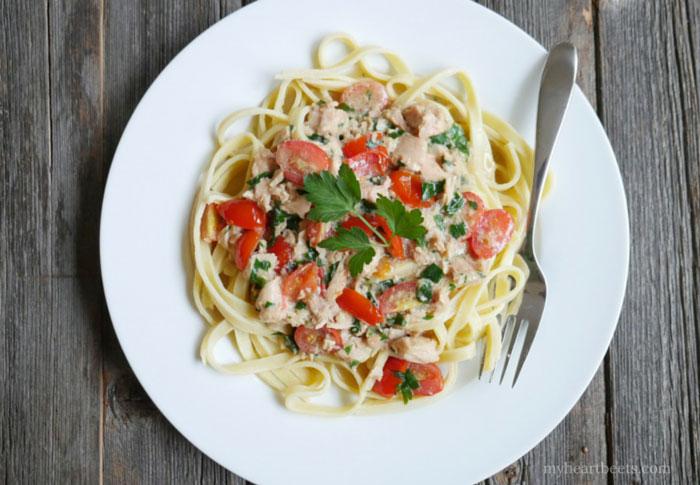 seafood fettuccine alfredo paleo pasta by myheartbeets.com