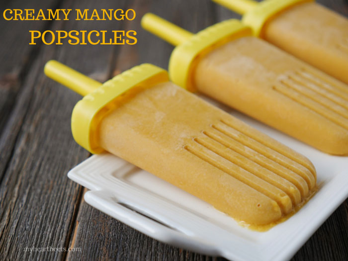 creamy mango popsicles by myheartbeets.com