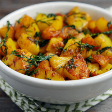 Crispy Indian Fried Dill Potatoes by MyHeartBeets.com