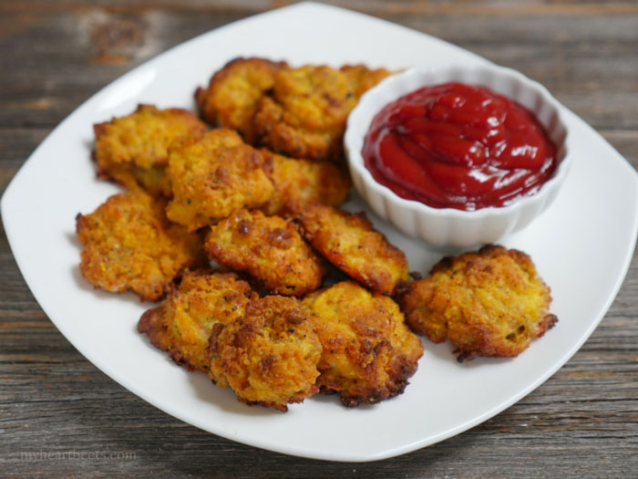 Coconut Flour Chicken Nuggets by myheartbeets.com