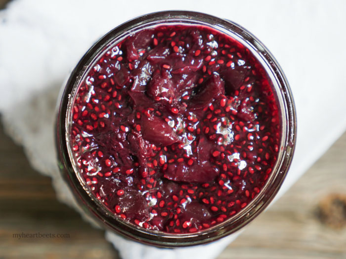 3-ingredient cherry chia jam by myheartbeets.com