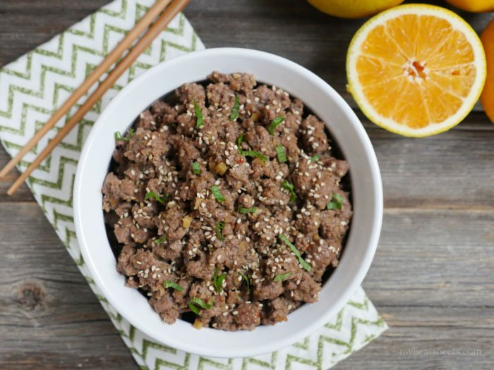 Orange Ground Beef by myheartbeets.com