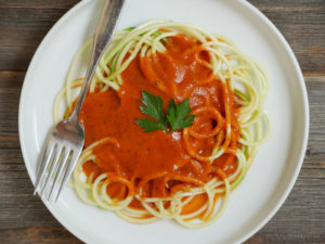 Zoodles (zucchini noodles) with Paleo Vodka Sauce by MyHeartBeets.com