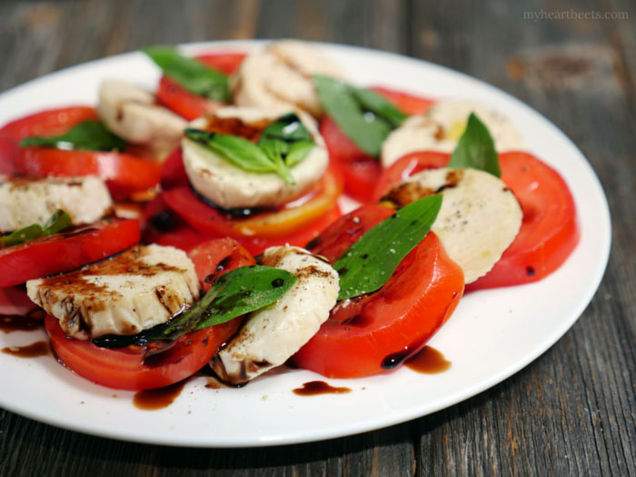 Dairy-free Caprese Salad by MyHeartBeets.com