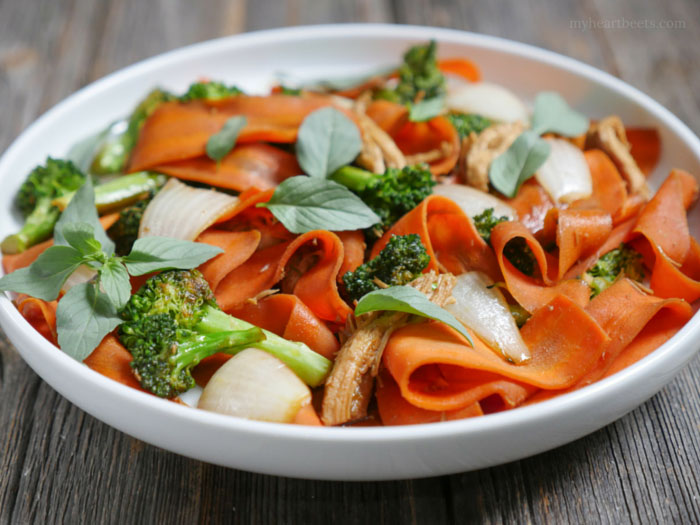 Carrot Drunken Noodles by MyHeartBeets.com