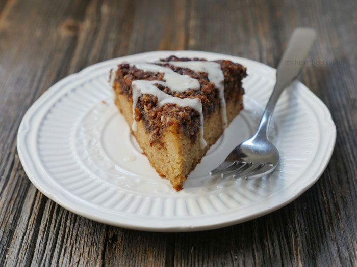 Paleo Cinnamon Coffee Cake by MyHeartBeets.com