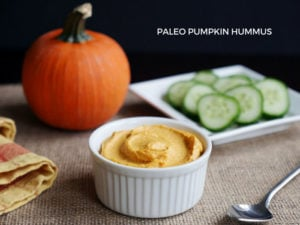 Paleo Pumpkin Hummus made without chickpeas! Recipe from Ashley of MyHeartBeets.com