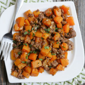 Spicy Ground Beef and Butternut Squash - a delicious and warming weeknight meal by Ashley of MyHeartBeets.com