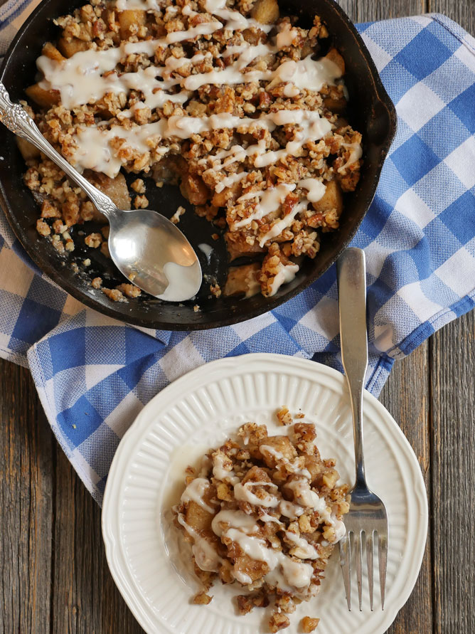Garam Masala Apple Crisp in a Skillet by Ashley of MyHeartBeets.com