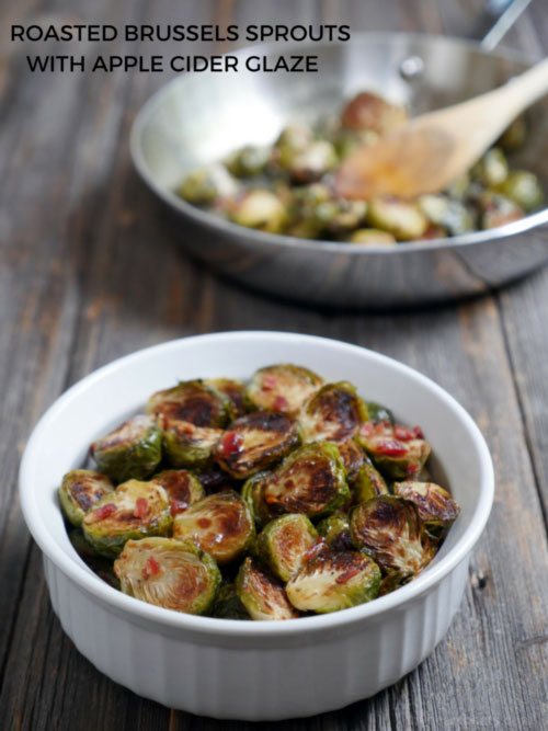 Roasted Brussels Sprouts with Bacon Crumbles and Apple Cider Glaze by Ashley of MyHeartBeets.com