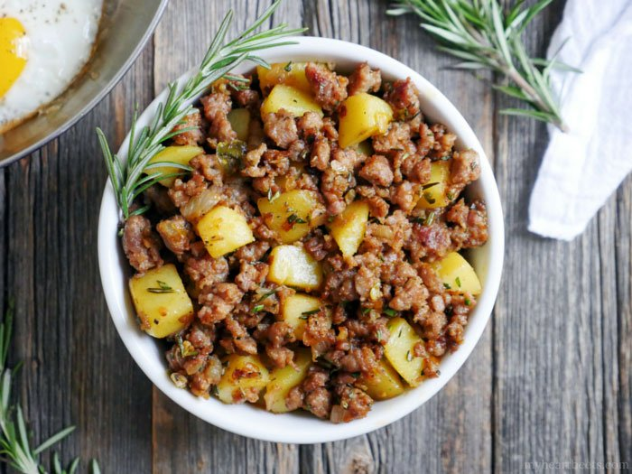 Spicy Rosemary Sausage and Potato Breakfast Hash by Ashley of MyHeartBeets.com