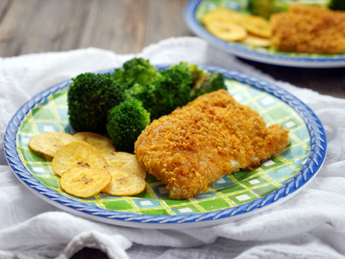 Plantain Crusted Haddock (gluten-free breaded fish) by Ashley of MyHeartBeets.com