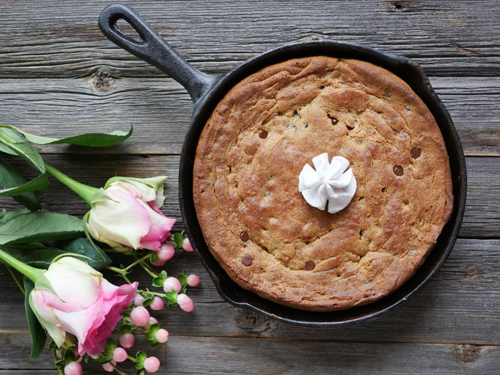 Chocolate and Rose Skillet Cake by Ashley of MyHeartBeets.com