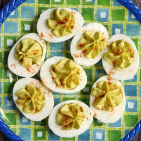 Easy Avocado Deviled Eggs by Ashley of MyHeartBeets.com