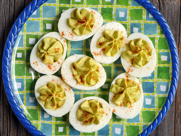 Easy Avocado Deviled Eggs by Ashley of MyHeartBeets.com