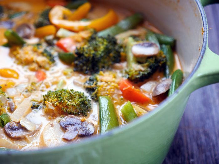 Thai Red Vegetable Curry by Ashley of MyHeartBeets.